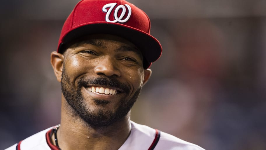 WASHINGTON, DC - AUGUST 15: Howie Kendrick #4 of the Washington Nationals reacts after the Nationals defeated the Los Angeles Angels of Anaheim 3-1 at Nationals Park on August 15, 2017 in Washington, DC. (Photo by Patrick McDermott/Getty Images)