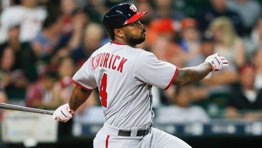 HOUSTON, TX - AUGUST 23:  Howie Kendrick #4 of the Washington Nationals singles to center field in the third inning against the Houston Astros at Minute Maid Park on August 23, 2017 in Houston, Texas.  (Photo by Bob Levey/Getty Images)