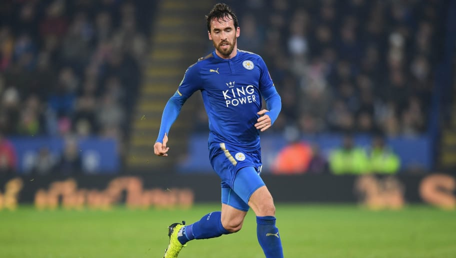 LEICESTER, ENGLAND - DECEMBER 19:  Christian Fuchs of Leicester in action during the Carabao Cup Quarter-Final match between Leicester City and Manchester City at The King Power Stadium on December 19, 2017 in Leicester, England.  (Photo by Michael Regan/Getty Images)