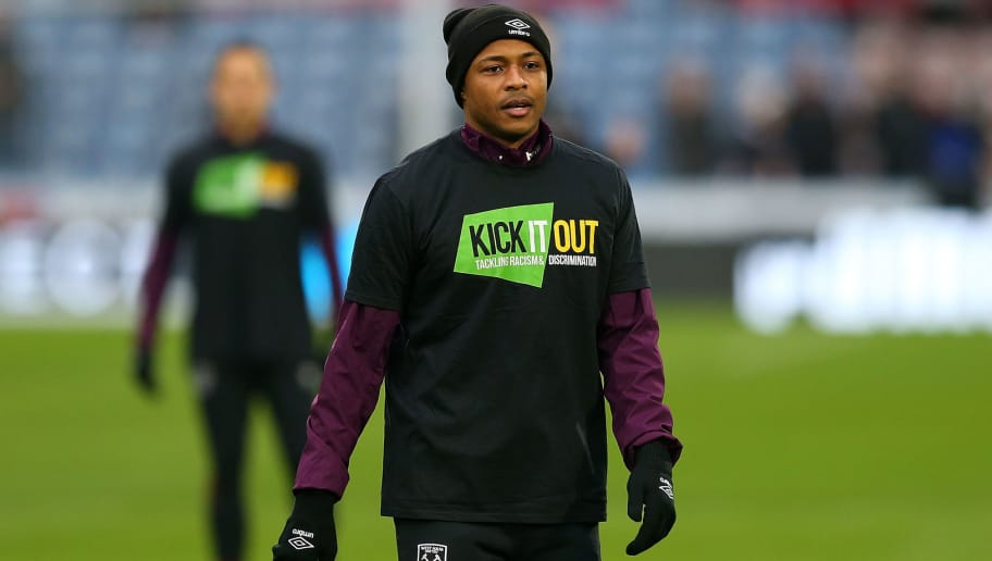 HUDDERSFIELD, ENGLAND - JANUARY 13:  Andre Ayew of West Ham United warms up ahead of the Premier League match between Huddersfield Town and West Ham United at John Smith's Stadium on January 13, 2018 in Huddersfield, England.  (Photo by Jan Kruger/Getty Images)