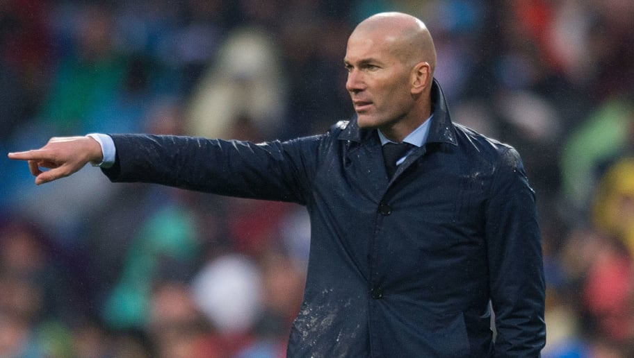 MADRID, SPAIN - JANUARY 13:  Zinedine Zidane, Manager of Real Madrid directs his team during the La Liga match between Real Madrid and Villarreal at Estadio Santiago Bernabeu on January 13, 2018 in Madrid, Spain. (Photo by Denis Doyle/Getty Images)