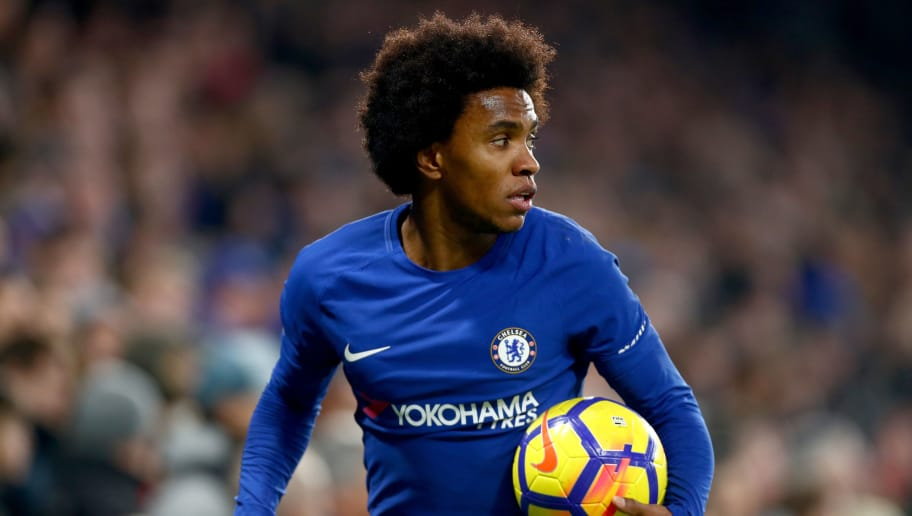 LONDON, ENGLAND - JANUARY 13:  Willian of Chelsea in action during the Premier League match between Chelsea and Leicester City at Stamford Bridge on January 13, 2018 in London, England.  (Photo by Clive Rose/Getty Images)