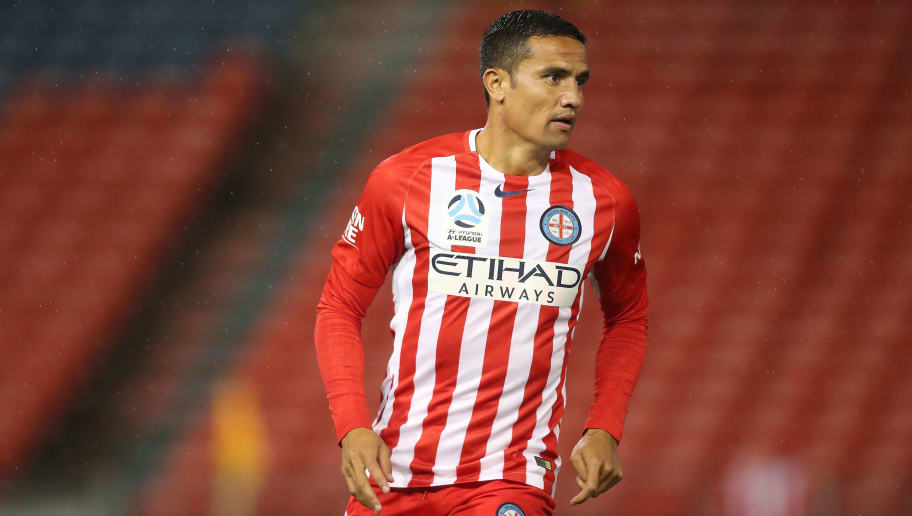 NEWCASTLE, AUSTRALIA - DECEMBER 02:  Tim Cahill of Melbourne City during the round nine A-League match between the Newcastle Jets and Melbourne City at McDonald Jones Stadium on December 2, 2017 in Newcastle, Australia.  (Photo by Tony Feder/Getty Images)