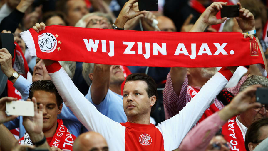 STOCKHOLM, SWEDEN - MAY 24:  Ajax fans show their support prior to the UEFA Europa League Final between Ajax and Manchester United at Friends Arena on May 24, 2017 in Stockholm, Sweden.  (Photo by Julian Finney/Getty Images)