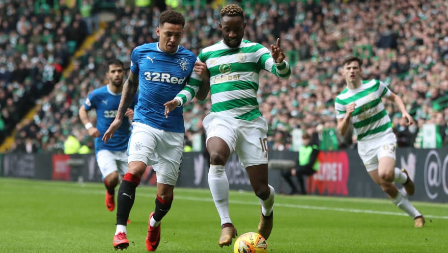 GLASGOW, SCOTLAND - DECEMBER 30: James Tavernier of Rangers vies with Moussa Dembele of Celtic during the Scottish Premier League match between Celtic and Ranger at Celtic Park on December 30, 2017 in Glasgow, Scotland. (Photo by Ian MacNicol/Getty Images)