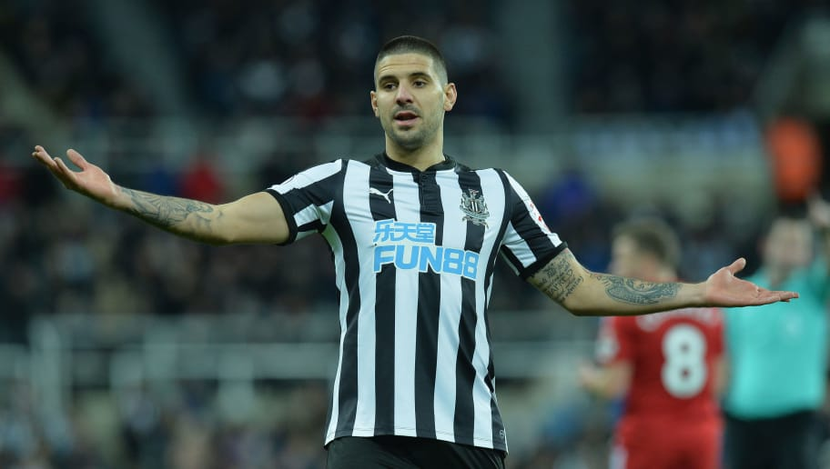 NEWCASTLE UPON TYNE, ENGLAND - NOVEMBER 25:  Aleksandar Mitrovic of Newcastle United reacts during the Premier League match between Newcastle United and Watford at St. James Park on November 25, 2017 in Newcastle upon Tyne, England.  (Photo by Mark Runnacles/Getty Images)