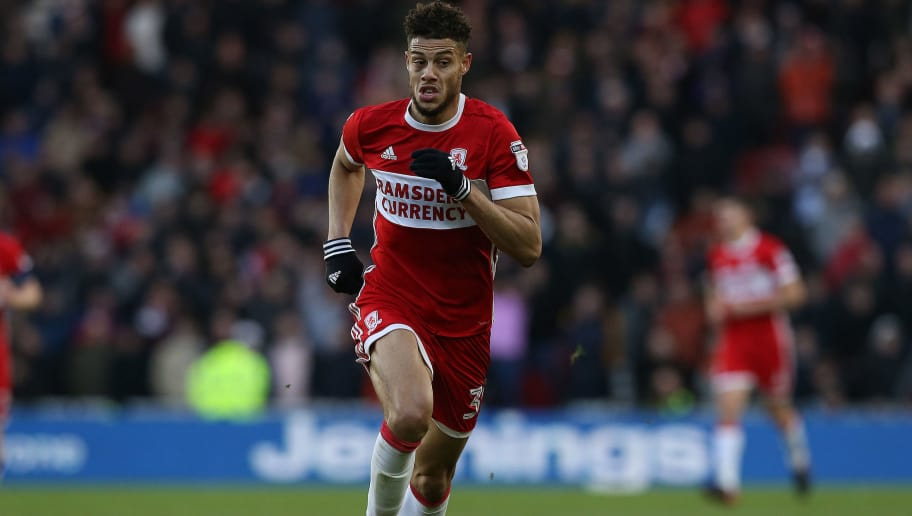 MIDDLESBROUGH, ENGLAND - JANUARY 06:  Rudy Gestede of Middlesbrough during The Emirates FA Cup Third Round match between Middlesbrough and Sunderland at the Riverside Stadium on January 6, 2018 in Middlesbrough, England. (Photo by Nigel Roddis/Getty Images)