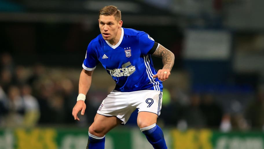 IPSWICH, ENGLAND - JANUARY 13:  Martyn Waghorn of Ipswich Town during the Sky Bet Championship match between Ipswich Town and Leeds United at Portman Road on January 13, 2018 in Ipswich, England. (Photo by Stephen Pond/Getty Images)