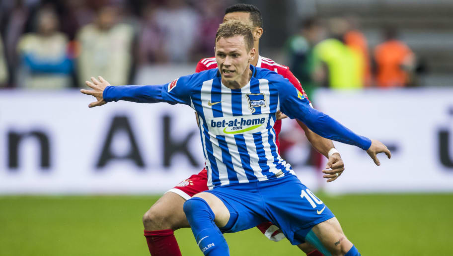 Hertha Berlin's Slovakian midfielder Ondrej Duda vie for the ball during the German first division Bundesliga football match Berlin vs Bayern Munich at the Olympic stadium in Berlin on October 1, 2017.  / AFP PHOTO / Odd ANDERSEN / RESTRICTIONS: DURING MATCH TIME: DFL RULES TO LIMIT THE ONLINE USAGE TO 15 PICTURES PER MATCH AND FORBID IMAGE SEQUENCES TO SIMULATE VIDEO. == RESTRICTED TO EDITORIAL USE == FOR FURTHER QUERIES PLEASE CONTACT DFL DIRECTLY AT + 49 69 650050         (Photo credit should read ODD ANDERSEN/AFP/Getty Images)