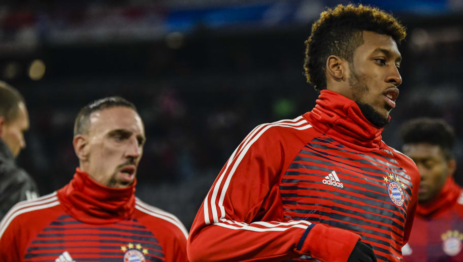 Bayern Munich's French midfielder Franck Ribery (L) and Bayern Munich's French striker Kingsley Coman (R) warm-up prior during the UEFA Champions League football match between Paris Saint-Germain and Bayern Munich, on December 5, 2017 in Munich, southern Germany.  / AFP PHOTO / GUENTER SCHIFFMANN        (Photo credit should read GUENTER SCHIFFMANN/AFP/Getty Images)