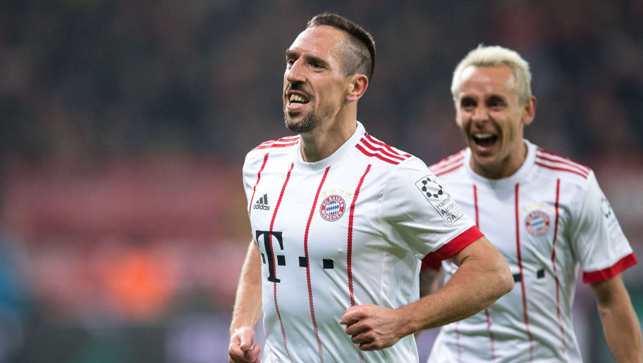 Bayern Munich's French midfielder Franck Ribery (L) celebrates scoring with his teammate Rafinha during the German First division Bundesliga football match Bayer Leverkusen vs FC Bayern Munich on January 12, 2018 in Leverkusen, western Germany. / AFP PHOTO / dpa / Marius Becker / NO Getty Images (GETTY-VD) - Germany OUT / RESTRICTIONS: DURING MATCH TIME: DFL RULES TO LIMIT THE ONLINE USAGE TO 15 PICTURES PER MATCH AND FORBID IMAGE SEQUENCES TO SIMULATE VIDEO. == RESTRICTED TO EDITORIAL USE == FOR FURTHER QUERIES PLEASE CONTACT DFL DIRECTLY AT + 49 69 650050  /         (Photo credit should read MARIUS BECKER/AFP/Getty Images)