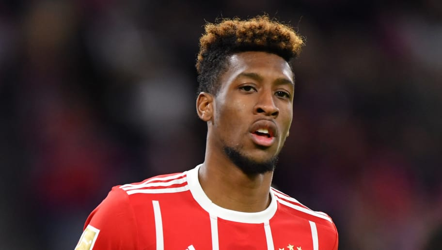 MUNICH, GERMANY - JANUARY 09:  Kingsley Coman of Bayern Muenchen in action during the friendly match between Bayern Muenchen and SG Sonnenhof Grossaspach at Allianz Arena on January 9, 2018 in Munich, Germany. (Photo by Sebastian Widmann/Bongarts/Getty Images)