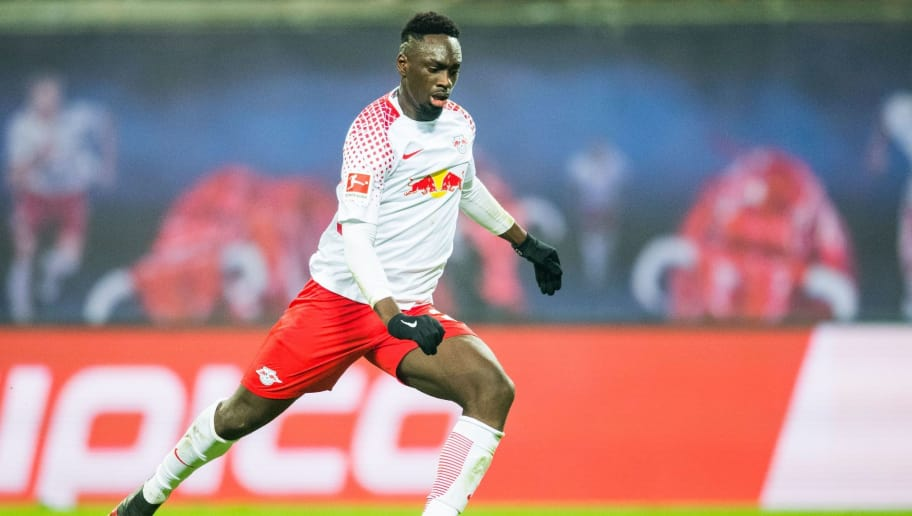 Leipzig's French forward Jean-Kevin Augustin kicks a penalty during the German first division Bundesliga football match between RB Leipzig and FC Schalke 04 in Leipzig, eastern Germany, on January 13, 2018. / AFP PHOTO / ROBERT MICHAEL / RESTRICTIONS: DURING MATCH TIME: DFL RULES TO LIMIT THE ONLINE USAGE TO 15 PICTURES PER MATCH AND FORBID IMAGE SEQUENCES TO SIMULATE VIDEO. == RESTRICTED TO EDITORIAL USE == FOR FURTHER QUERIES PLEASE CONTACT DFL DIRECTLY AT + 49 69 650050  / RESTRICTIONS: DURING MATCH TIME: DFL RULES TO LIMIT THE ONLINE USAGE TO 15 PICTURES PER MATCH AND FORBID IMAGE SEQUENCES TO SIMULATE VIDEO. == RESTRICTED TO EDITORIAL USE == FOR FURTHER QUERIES PLEASE CONTACT DFL DIRECTLY AT + 49 69 650050        (Photo credit should read ROBERT MICHAEL/AFP/Getty Images)