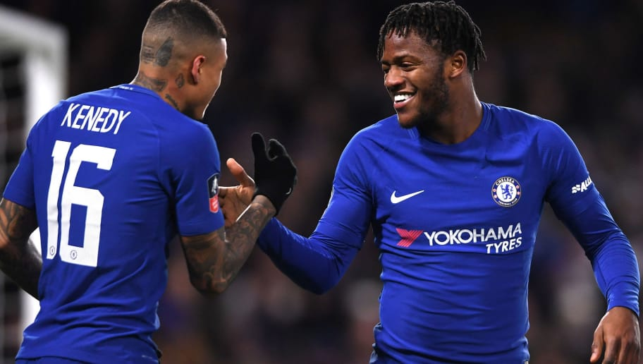 LONDON, ENGLAND - JANUARY 17:  Michy Batshuayi of Chelsea celebrates after scoing his sides first goal during The Emirates FA Cup Third Round Replay between Chelsea and Norwich City at Stamford Bridge on January 17, 2018 in London, England.  (Photo by Mike Hewitt/Getty Images)