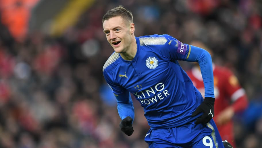 Leicester City's English striker Jamie Vardy celebrates scoring the team's first goal during the English Premier League football match between Liverpool and Leicester at Anfield in Liverpool, north west England on December 30, 2017. / AFP PHOTO / Paul ELLIS / RESTRICTED TO EDITORIAL USE. No use with unauthorized audio, video, data, fixture lists, club/league logos or 'live' services. Online in-match use limited to 75 images, no video emulation. No use in betting, games or single club/league/player publications.  /         (Photo credit should read PAUL ELLIS/AFP/Getty Images)