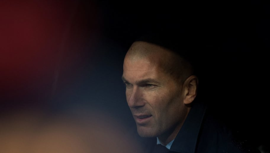 MADRID, SPAIN - JANUARY 13:  Zinedine Zidane, Manager of Real Madrid  looks on before the La Liga match between Real Madrid and Villarreal at Estadio Santiago Bernabeu on January 13, 2018 in Madrid, Spain. (Photo by Denis Doyle/Getty Images)