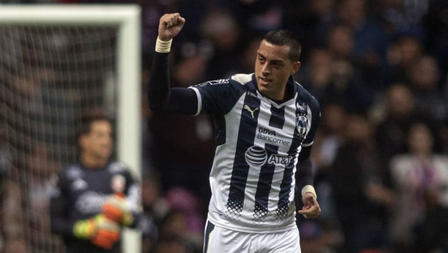 Monterrey's Rogelio Funes Mori celebrates after scoring against Morelia, during the Mexican Clausura 2018 tournament football match at the BBVA Bancomer stadium in Monterrey, Mexico on January 6, 2018.  / AFP PHOTO / Julio Cesar AGUILAR        (Photo credit should read JULIO CESAR AGUILAR/AFP/Getty Images)