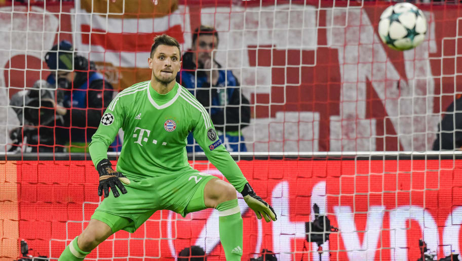 Bayern Munich's German keeper Sven Ulreich eyes the ball during the UEFA Champions League football match between Paris Saint-Germain and Bayern Munich, on December 5, 2017 in Munich, southern Germany.  / AFP PHOTO / GUENTER SCHIFFMANN        (Photo credit should read GUENTER SCHIFFMANN/AFP/Getty Images)