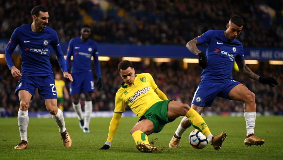 LONDON, ENGLAND - JANUARY 17:  Josh Murphy of Norwich City is tackled by Kenedy of Chelsea  during The Emirates FA Cup Third Round Replay between Chelsea and Norwich City at Stamford Bridge on January 17, 2018 in London, England.  (Photo by Mike Hewitt/Getty Images)