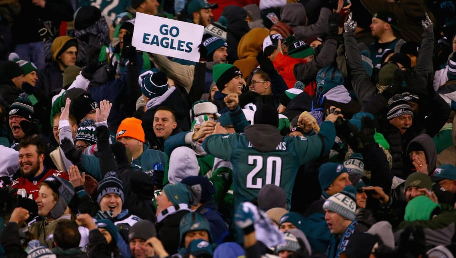 PHILADELPHIA, PA - JANUARY 13: Fans hold up a 'Go Eagles' sign as the Philadelphia Eagles take on the Atlanta Falcons during the second quarter in the NFC Divisional Playoff game at Lincoln Financial Field on January 13, 2018 in Philadelphia, Pennsylvania.  (Photo by Mitchell Leff/Getty Images)