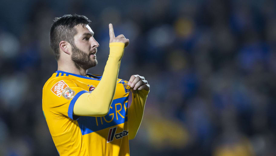 MONTERREY, MEXICO - JANUARY 13: Andre-Pierre Gignac of Tigres celebrates after scoring his team's second goal during the 2nd round match between Tigres UANL and Santos Laguna as part of the Torneo Clausura 2018 Liga MX on January 13, 2018 in Monterrey, Mexico. (Photo by Azael Rodriguez/Getty Images)