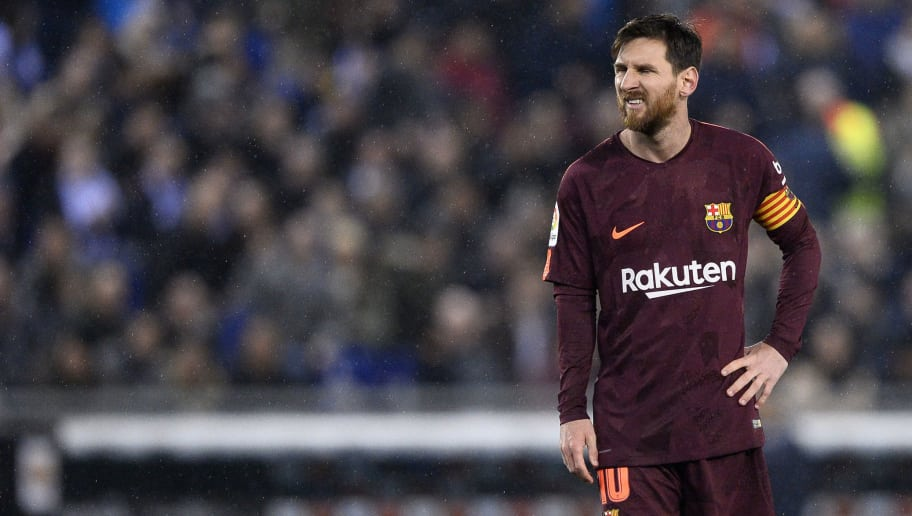 Barcelona's Argentinian forward Lionel Messi grimaces after missing a penalty kick during the Spanish 'Copa del Rey' (King's cup) quarter-final first leg football match between RCD Espanyol and FC Barcelona at the RCDE Stadium in Cornella de Llobregat on January 17, 2018. / AFP PHOTO / Josep LAGO        (Photo credit should read JOSEP LAGO/AFP/Getty Images)