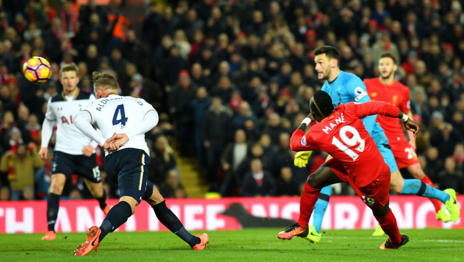 LIVERPOOL, ENGLAND - FEBRUARY 11:  Sadio Mane of Liverpool scores his side's second goal during the Premier League match between Liverpool and Tottenham Hotspur at Anfield on February 11, 2017 in Liverpool, England.  (Photo by Mike Hewitt/Getty Images for Tottenham Hotspur FC)