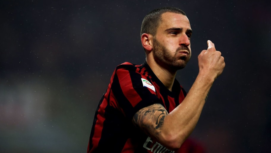 AC Milan's defender Leonardo Bonucci from Italy celebrates after scoring during the Italian Serie A football match AC Milan vs Crotone on January 6, 2018 at the San Siro stadium in Milan.  / AFP PHOTO / MARCO BERTORELLO        (Photo credit should read MARCO BERTORELLO/AFP/Getty Images)