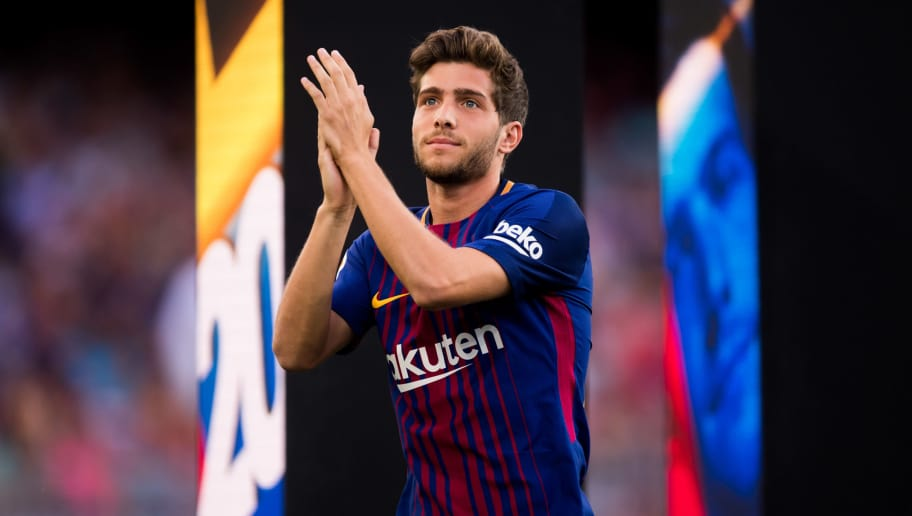 BARCELONA, SPAIN - AUGUST 07: Sergi Roberto of FC Barcelona enters the pitch ahead of the Joan Gamper Trophy match between FC Barcelona and Chapecoense at Camp Nou stadium on August 7, 2017 in Barcelona, Spain. (Photo by Alex Caparros/Getty Images)