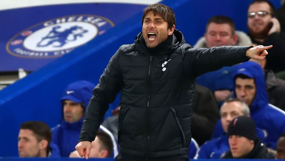 LONDON, ENGLAND - JANUARY 17:  Antonio Conte, Manager of Chelsea reacts during The Emirates FA Cup Third Round Replay between Chelsea and Norwich City at Stamford Bridge on January 17, 2018 in London, England.  (Photo by Clive Rose/Getty Images)