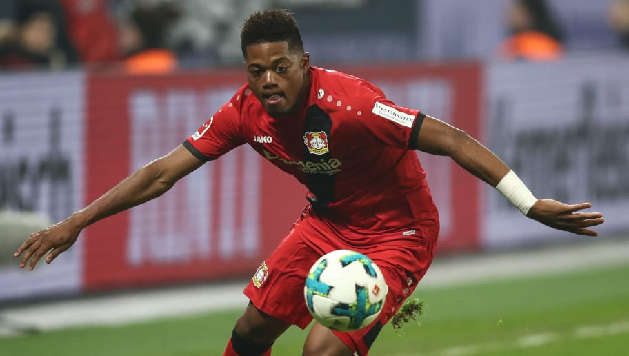 LEVERKUSEN, GERMANY - JANUARY 12: Leon Bailey #9 of Bayer Leverkusen controls the ball during the Bundesliga match between Bayer 04 Leverkusen and FC Bayern Muenchen at BayArena on January 12, 2018 in Leverkusen, Germany. (Photo by Maja Hitij/Bongarts/Getty Images)