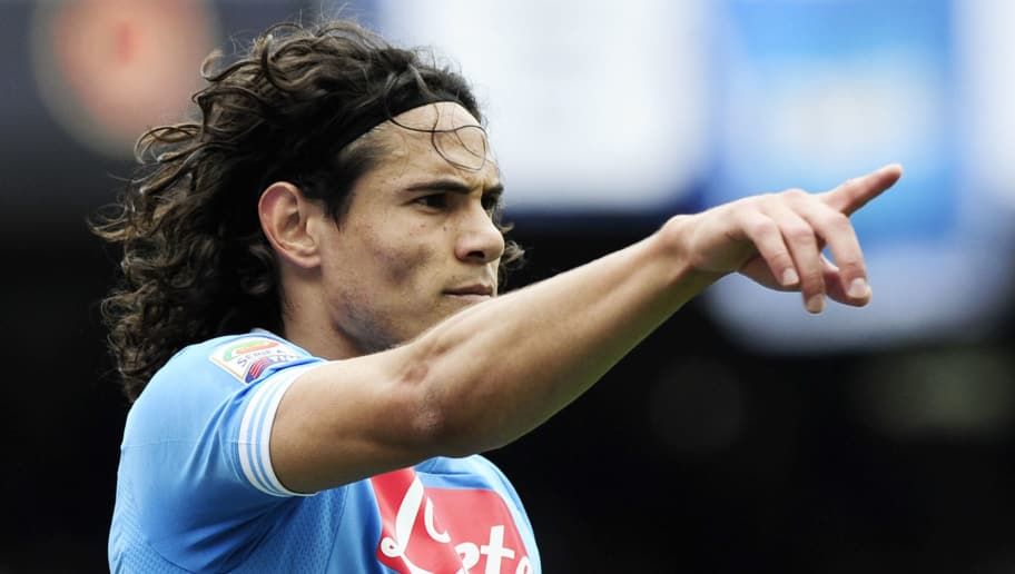 Napoli's forward Edinson Cavani gestures during an Italian Serie A football match between SSC Napoli and Cagliari at the San Paolo Stadium in Naples on April 21, 2013.     AFP PHOTO / ROBERTO SALOMONE        (Photo credit should read ROBERTO SALOMONE/AFP/Getty Images)