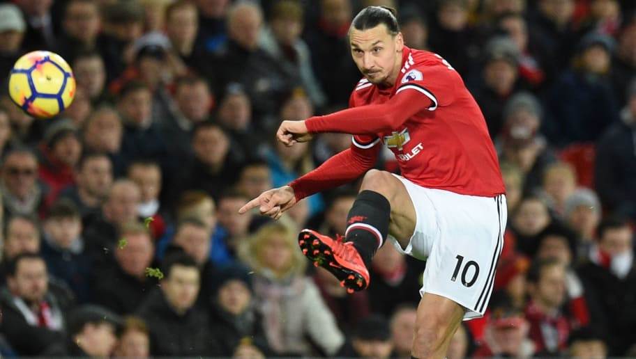 TOPSHOT - Manchester United's Swedish striker Zlatan Ibrahimovic plays the ball during the English Premier League football match between Manchester United and Newcastle at Old Trafford in Manchester, north west England, on November 18, 2017. / AFP PHOTO / Oli SCARFF / RESTRICTED TO EDITORIAL USE. No use with unauthorized audio, video, data, fixture lists, club/league logos or 'live' services. Online in-match use limited to 75 images, no video emulation. No use in betting, games or single club/league/player publications.  /         (Photo credit should read OLI SCARFF/AFP/Getty Images)