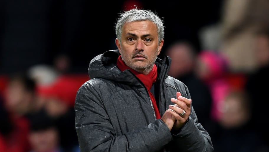 MANCHESTER, ENGLAND - JANUARY 15:  Jose Mourinho, Manager of Manchester United reacts after the full time whistle in the Premier League match between Manchester United and Stoke City at Old Trafford on January 15, 2018 in Manchester, England.  (Photo by Michael Regan/Getty Images)