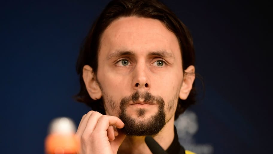 Dortmund's Serbian defender Neven Subotic holds a press conference in Madrid on December 5, 2017 on the eve of the UEFA Champions League group H football match between Real Madrid and Borussia Dortmund. / AFP PHOTO / JAVIER SORIANO        (Photo credit should read JAVIER SORIANO/AFP/Getty Images)