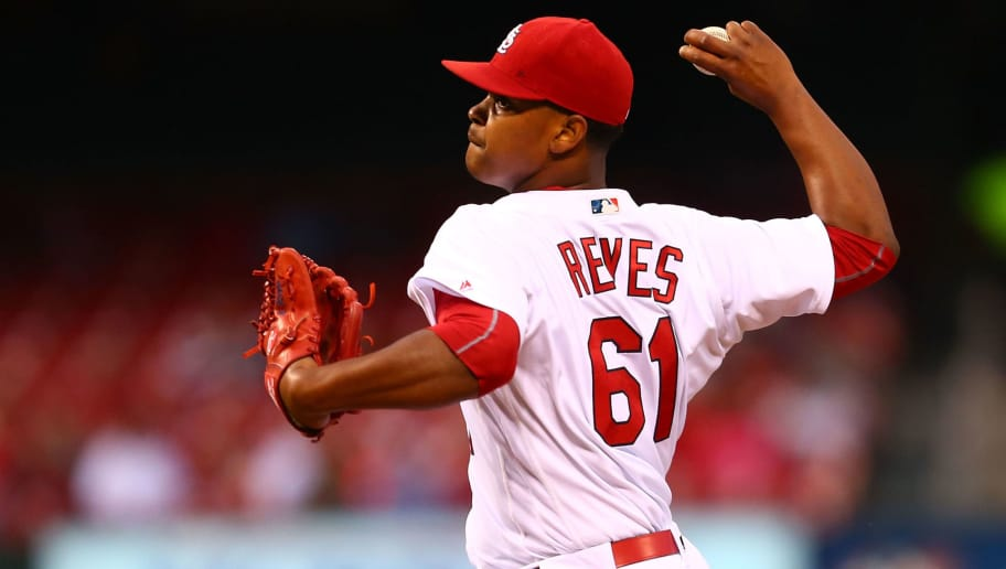 ST. LOUIS, MO - SEPTEMBER 29: Starter Alex Reyes #61 of the St. Louis Cardinals pitches against the Cincinnati Reds in the first inning at Busch Stadium on September 29, 2016 in St. Louis, Missouri.  (Photo by Dilip Vishwanat/Getty Images)