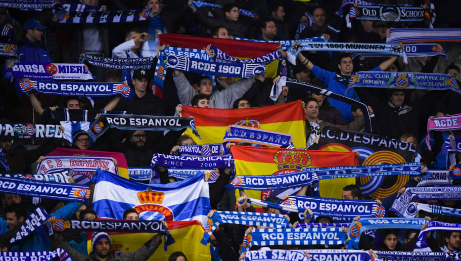 BARCELONA, SPAIN - JANUARY 17:  RCD Espanyol fans enjoy the atmospher during the Copa del Rey Quarter Final First Leg match between Espanyol and FC Barcelona at Nuevo Estadio de Cornella-El Prat on January 17, 2018 in Barcelona, Spain.  (Photo by David Ramos/Getty Images)