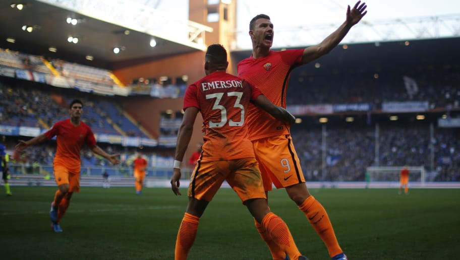 AS Roma's forward Edin Dzeko (R) from Bosnia-Herzegovina celebrates after scoring with teammate AS Roma's defender Emerson Palmieri of Brazil during the Italian Serie A football match Sampdoria Vs As Roma on January 29, 2017 at the 'Luigi Ferraris' stadium in Genoa. / AFP / Marco BERTORELLO        (Photo credit should read MARCO BERTORELLO/AFP/Getty Images)