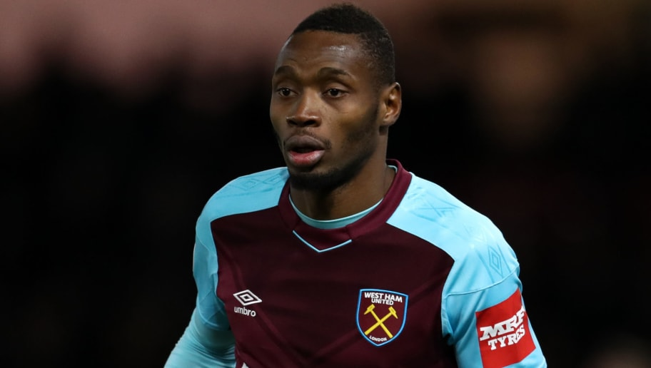 WATFORD, ENGLAND - NOVEMBER 19: Diafra Sakho of West Ham United during the Premier League match between Watford and West Ham United at Vicarage Road on November 19, 2017 in Watford, England. (Photo by Catherine Ivill/Getty Images)
