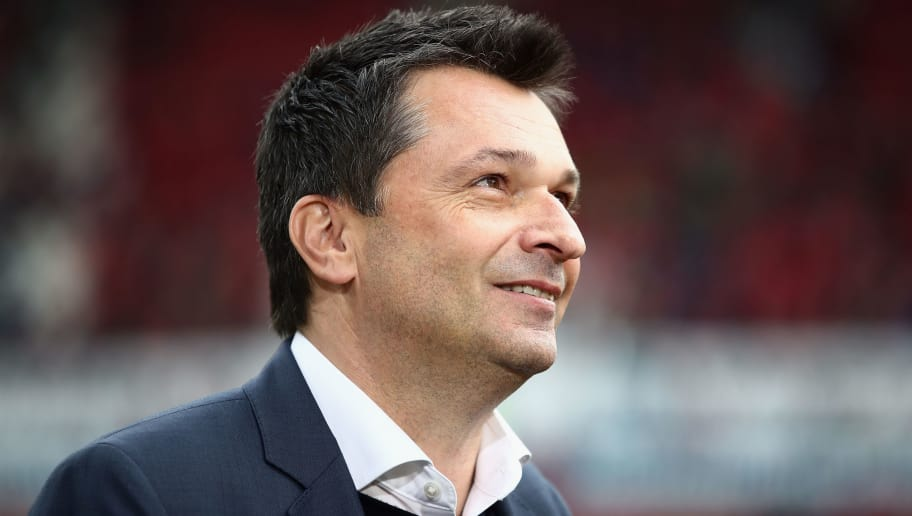 MAINZ, GERMANY - MARCH 19: Christian Heidel of Schalke looks on prior to the Bundesliga match between 1. FSV Mainz 05 and FC Schalke 04 at Opel Arena on March 19, 2017 in Mainz, Germany.  (Photo by Alex Grimm/Bongarts/Getty Images)