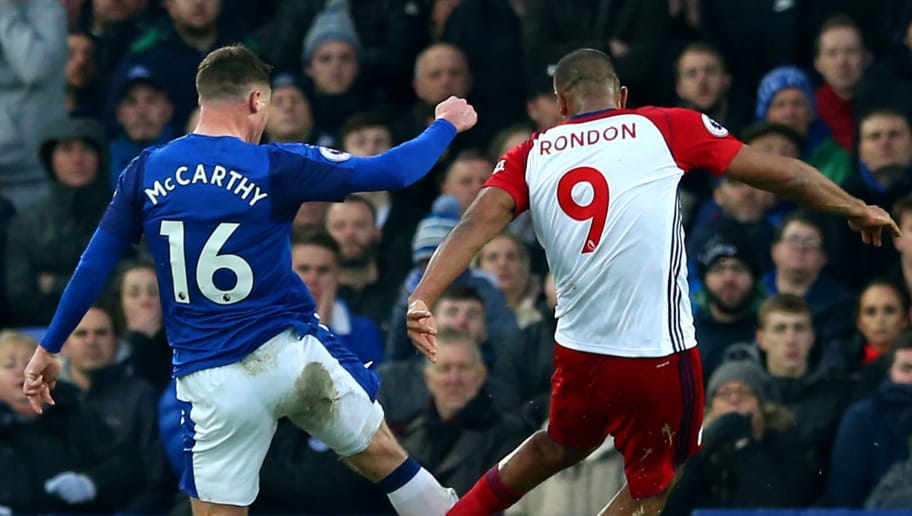 LIVERPOOL, ENGLAND - JANUARY 20:  Jose Salomon Rondon of West Bromwich Albion tackles James McCarthy of Everton during the Premier League match between Everton and West Bromwich Albion at Goodison Park on January 20, 2018 in Liverpool, England.  (Photo by Jan Kruger/Getty Images)