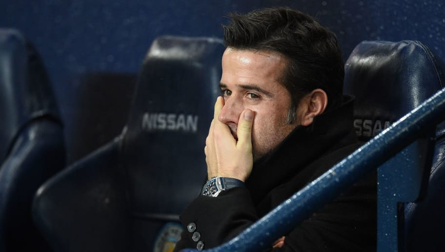Watford's Portuguese head coach Marco Silva looks on during the English Premier League football match between Manchester City and Watford at the Etihad Stadium in Manchester, north west England, on January 2, 2018. / AFP PHOTO / Oli SCARFF / RESTRICTED TO EDITORIAL USE. No use with unauthorized audio, video, data, fixture lists, club/league logos or 'live' services. Online in-match use limited to 75 images, no video emulation. No use in betting, games or single club/league/player publications.  /         (Photo credit should read OLI SCARFF/AFP/Getty Images)