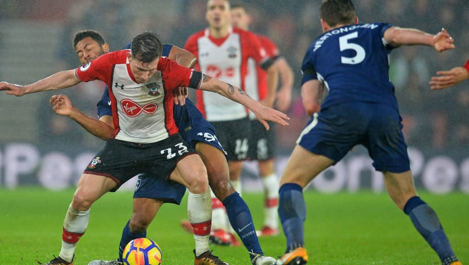 Southampton's Danish midfielder Pierre-Emile Hojbjerg vies with Tottenham Hotspur's Belgian midfielder Mousa Dembele (L) during the English Premier League football match between Southampton and Tottenham Hotspur at St Mary's Stadium in Southampton, southern England on January 21, 2018. / AFP PHOTO / Glyn KIRK / RESTRICTED TO EDITORIAL USE. No use with unauthorized audio, video, data, fixture lists, club/league logos or 'live' services. Online in-match use limited to 75 images, no video emulation. No use in betting, games or single club/league/player publications.  /         (Photo credit should read GLYN KIRK/AFP/Getty Images)