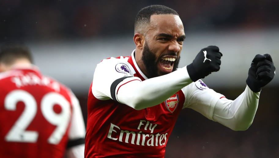 LONDON, ENGLAND - JANUARY 20:  Alexandre Lacazette of Arsenal celebrates scoring his side's fourth goal during the Premier League match between Arsenal and Crystal Palace at Emirates Stadium on January 20, 2018 in London, England.  (Photo by Clive Mason/Getty Images)