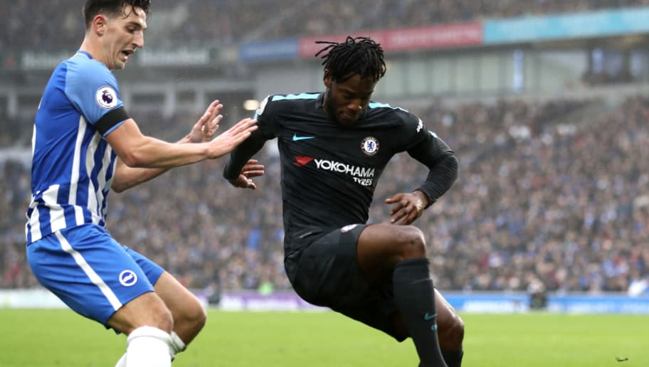 BRIGHTON, ENGLAND - JANUARY 20:  Michy Batshuayi of Chelsea shields the ball from Lewis Dunk of Brighton and Hove Albion during the Premier League match between Brighton and Hove Albion and Chelsea at Amex Stadium on January 20, 2018 in Brighton, England.  (Photo by Bryn Lennon/Getty Images)