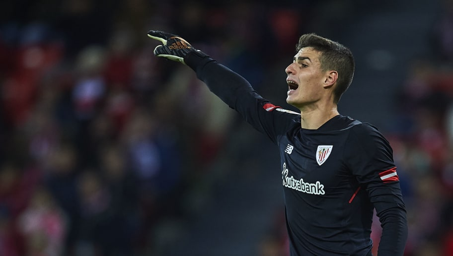 BILBAO, SPAIN - DECEMBER 02:  Kepa Arrizabalaga of Athletic Club reacts during the La Liga match between Athletic Club and Real Madrid at Estadio de San Mames on December 2, 2017 in Bilbao, Spain.  (Photo by Juan Manuel Serrano Arce/Getty Images)