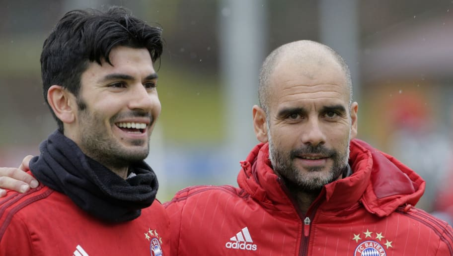 MUNICH, GERMANY - FEBRUARY 03:  Josep Guardiola, Head Coach of FC Bayern Muenchen speaks with new signing Serdar Tasci during a FC Bayern Muenchen training session at the club's training ground on February 3, 2016 in Munich, Germany.  (Photo by Adam Pretty/Bongarts/Getty Images)