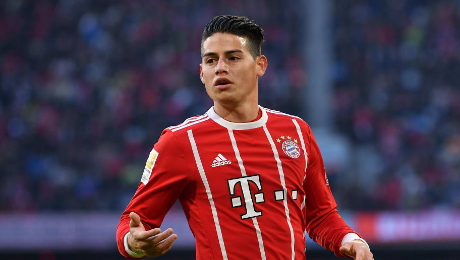 MUNICH, GERMANY - JANUARY 21: James Rodriguez of Bayern Muenchen gestures during the Bundesliga match between FC Bayern Muenchen and SV Werder Bremen at Allianz Arena on January 21, 2018 in Munich, Germany. (Photo by Sebastian Widmann/Bongarts/Getty Images)