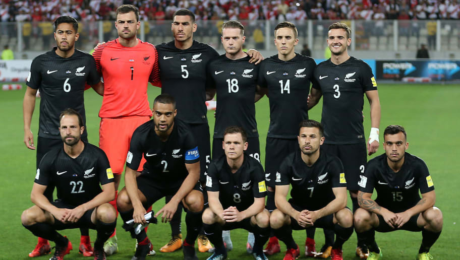 New Zealand's football team players (L to R upper row) Bill Tuiloma, goalkeeper Stefan Marinovic, Michael Boxall, Kip Colvey, Ryan Thomas, Deklan Wynne, (L to R lower row) Andrew Durante, Winston Reid, Michael McGlinchey, Kosta Barbarouses and Clayton Lewis pose for pictures before the 2018 World Cup qualifying play-off second leg football match against Peru, in Lima, Peru, on November 15, 2017. / AFP PHOTO / LUKA GONZALES        (Photo credit should read LUKA GONZALES/AFP/Getty Images)
