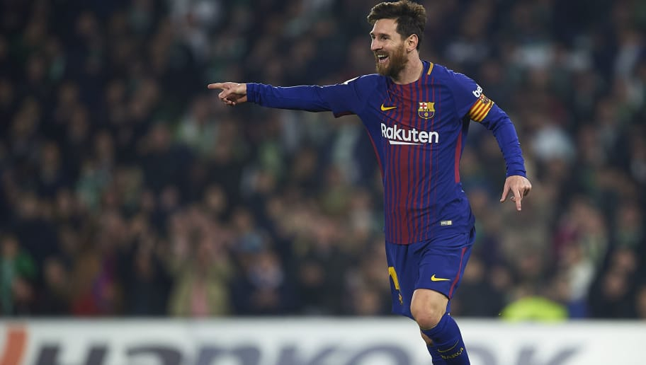 SEVILLE, SPAIN - JANUARY 21:  Lionel Messi of FC Barcelona  celebrates after scoring the second goal for FC Barcelona during the La Liga match between Real Betis and Barcelona at Estadio Benito Villamarin on January 21, 2018 in Seville, .  (Photo by Aitor Alcalde/Getty Images)